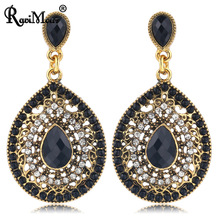RAVIMOUR Bohemian Long Earrings for Women Vintage Gold Color Water Drop Earing Fashion Jewelry Ethnic Boho Big Beads Aretes 2017(China)