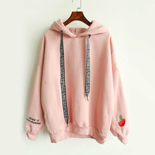 Harajuku Ping pong Cashmere Hoodies Women Korean Female Embroidered Shirt Tops Plus Velvet Thick Hoodie Sudaderas Mujer 2017
