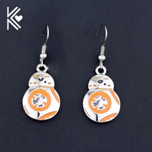 Star Wars Series Earring The Force Awakens BB8 BB-8 Earring Robot Earring Alloy Jewelry Wholesale Retail Silver Plated Earring(China)