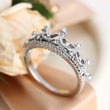 1Pc Fashion Silver Rhinestone Crown Ring Princess Ring New US Size 5 6 7 8 #Y51#(China)