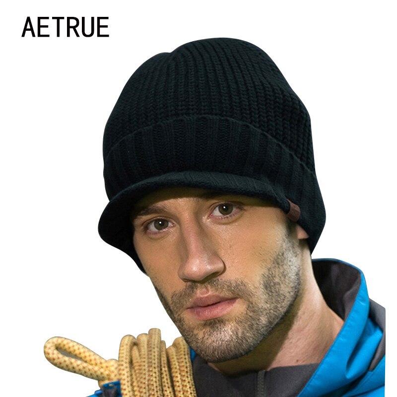 Newly Design Men Warm Knitted Beanies with Brim Winter Skullies Beanies for Men Women Head Wraps Man Caps