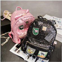 Miwind 2016 New Arrival Women All-match Bag PU Leather Sequins Backpack Girls Small Travel Princess Bling Backpacks
