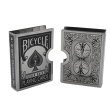 Stainless steel silver Thickening bicycle card clip playing card holder card magic accesory wholesale black color(China)