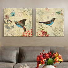 Blue hummingbird and butterfly decorative wall art decorative artist canvas painting posters and prints picture Animal