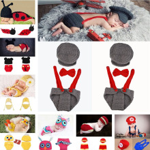 Crochet Baby Boy Gentleman Hat Bow Tie Pants Set Knitted Baby Hat Newborns Photo Props Infant Knitting Outfits 1set MZS-15039(China)