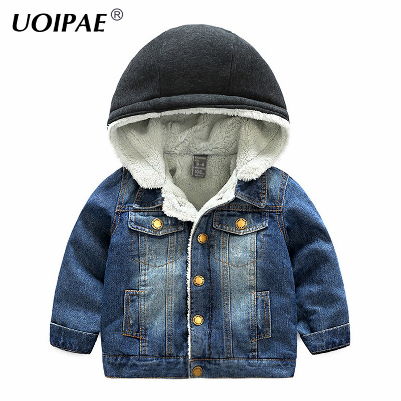 UOIPAE Winter Jacket For Kids Denim 2018 Casual Hooded Kids Boys Coats Long Sleeve Solid Plus Velvet Thick Boys Clothes B0892<br>