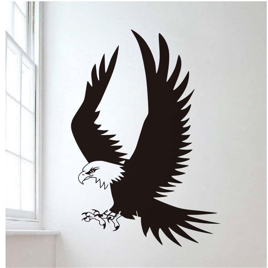 Flying Eagle Wall Stickers For Living Room Birds Animal Removable ...