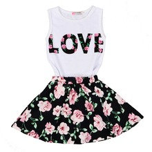 Children's Clothing Set Little Girls Skirts Tops+Short Skirt Boutique Outfits Suit Letter Love Cherry Flower Print Kids Clothes