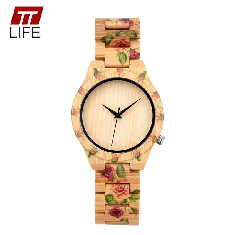 TTLIFE D21 Mens New Fashion  Flower Designer Wood Watches with Flower Printed on Wood Bands for Men Quartz Watches in Metal Box<br><br>Aliexpress