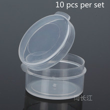 10 Pcs Round Plastic Box Transparent Small Tablet And Capsule Packing Box With Cover Packing Box Small Box Mini 3018