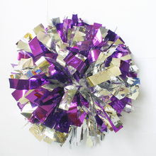 50g Cheerleader Dancing Pompoms (10 pieces/lot) Cheerleading Metallic Pom Poms Color can free combination Handle can choose