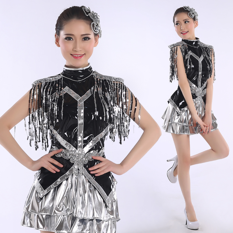 2018 New Modern Dance Costume Adult Sequin Stage Ds Nightclub Jazz Dance Costumes Short Dress Rave Outfit Performance Costume