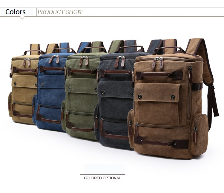 a large backpack in five different colors