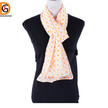 DaGuanJing Colorful Printed Polka Dot Scarf Patterns for Ladies Silk Chiffon Neck Summer Fall Headscarf Echo Scarves Size180*70(China)