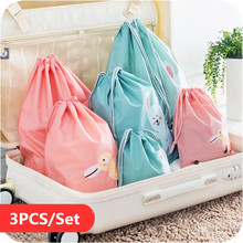 3Pcs/Set Cartoon Waterproof Travel Pouch Luggage Storage Bag Clothing Bags Sealing Bag Underwear Shoes Clothes Sorting Bags