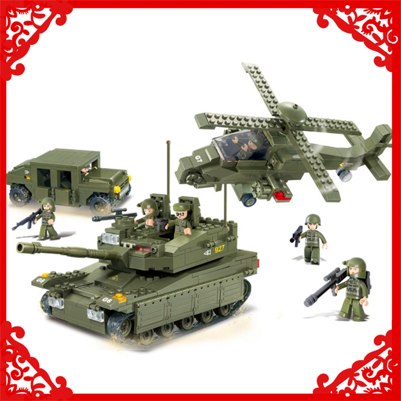 SLUBAN 0309 683Pcs Army Tank Helicopters Hummer Building Block Construction Figure Toys Gift For Children Compatible Legoe<br>