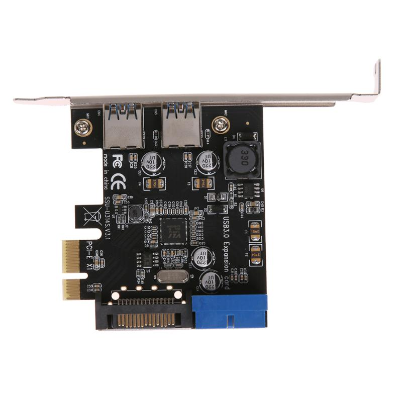 U3V14S PCIE Transfer 2Ports USB3.0 Expansion Card Desktop Front 19/20PIN Interface for Windows XP/7/8/8.1/10