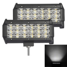 "2pcs 7"" inch 72W Tri-Row LED Work Light Bar SPOT FLOOD Beam LED for Jeep Off road 4WD Boat SUV ATV Truck 4X4"