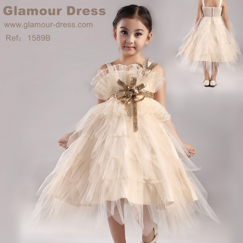 Hg Princess New Arrival Girl Party Dress 2-10 Years Champagne Flower Dresses For Weddings Mid-calf Kids Evening Gowns Plus Size<br>