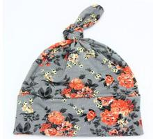 Hot Selling 2016 New Fashion Baby Boys Sleep Hat Newborn Bo Floral Cap Infant Cotton Cap One Piece Retail