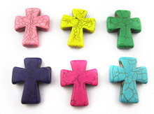 5Pieces/lot 30mm*36mm*7.3mm vintage Synthetic Stone  cross  beads  loose beads for jewelry making multi-color