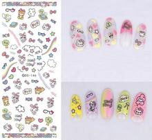 DS146 2017 New Water Transfer Nails Art Sticker Cartoon Lovely Hello kitty Nail Wrap Sticker Tips Manicura nail art decorations