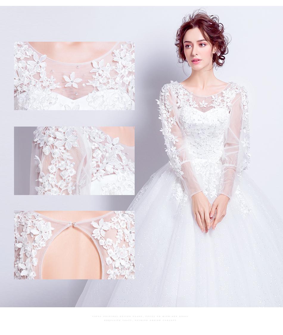 Angel Wedding Dress Marriage Bride Bridal Gown Vestido De Noiva 2017 Sweet, lace, flowers, long sleeves, 6011 6