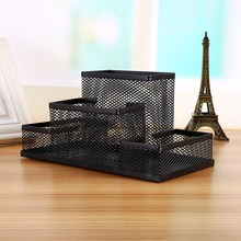 Multi-function Metal Mesh Pen Holder Black Cube Metal Stand Mesh Style Pen Pencil Ruler Holder Desk Organizer Storage