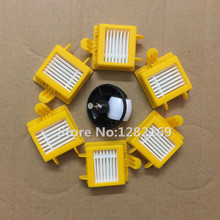 6x HEPA Filters and 1x Caster Assembly Front Castor wheel Replacement For iRobot Roomba 700 Series 760 770 780 790