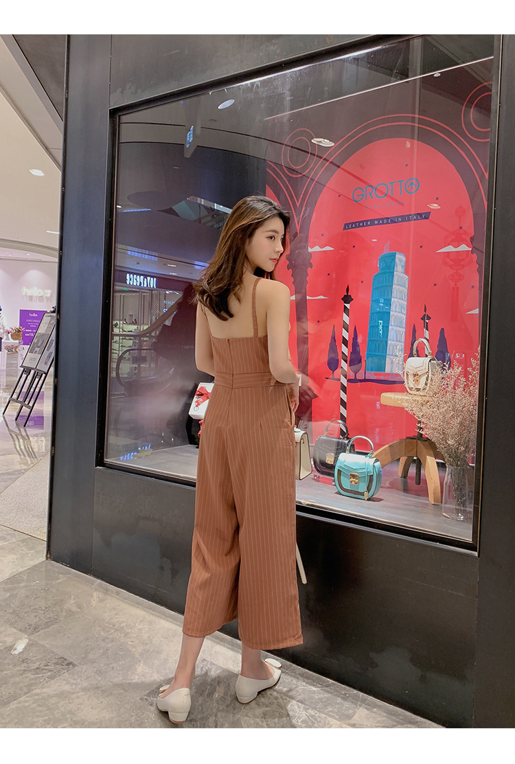 Sling Off Shoulder Sleeveless Striped Jumpsuit 2019 New Fashion V-Neck High Waist Nine Points Wide Leg Jumpsuit Summer 18 Online shopping Bangladesh