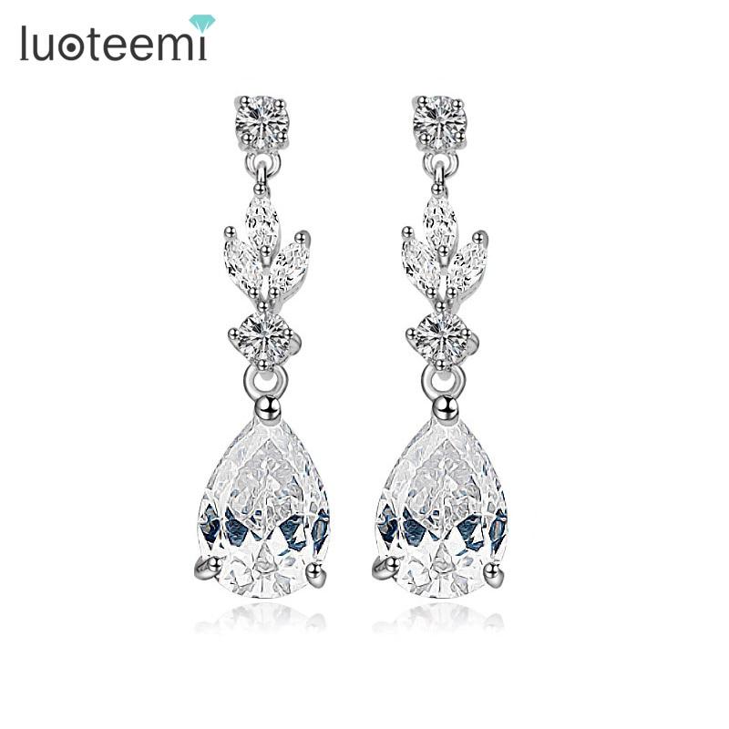 Perfect Ladies Bridal White Cubic Zirconia Crystal Silver Dangle Drop Earrings