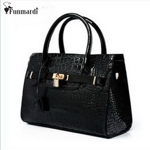 New arrival fashion brand retro Euramerican Pop CROCO design patent leather women PU bag/Shoulder Bag/totes bag WLHB699(China)