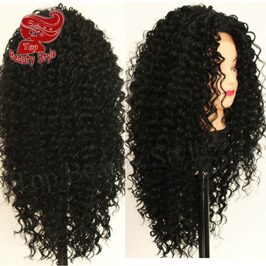 2016 Hot Fashion Black Color Afro Curly Hair Heat Resistant Black Kinky Curly Wig Synthetic Lace Front Wigs For Women<br><br>Aliexpress