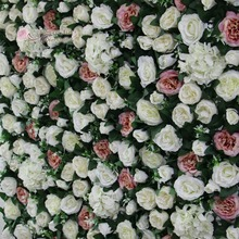 flower all over gulf artificial flower wall for backdrop wedding decoration ivory David Austin rose green leaves grass(China)