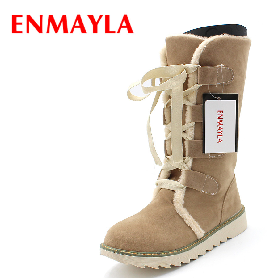 ENMAYLA Round Toe Lace-Up Mid-Calf Snow Boots for Women Platform Winter Flats Warm Fur Boots Beautiful Girls Shoes Big Size<br>