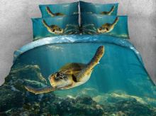 4 Parts Per Set Bed Sheet Set Stunning Green Sea Turtle Animal Print HD digital Print 3D bedding set