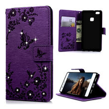 Diamond Phone Cases For Huawei Ascend P9 Lite Bling Rhinestone Butterfly Stand PU Leather Wallet Case Shell For Huawei P9 Lite