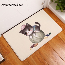 Comwarm Water Absorption in Front of Door Mats Cute Funny Ball Kitten Pattern Rugs Modern Kitchen Carpets Home Decor Crafts