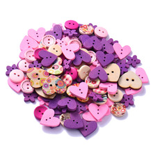 100Pcs/Lot Mixed 2-Hole DIY Wooden Buttons Pink/Coffee/Blue Heart Pattern Decorative Buttons Fit Sewing Scrapbooking Craft