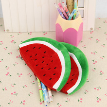 1PC Plush Watermelon Pencil Bag Creative Novelty Cute Large Capacity Stationery Storage Bags School Supplies(China)