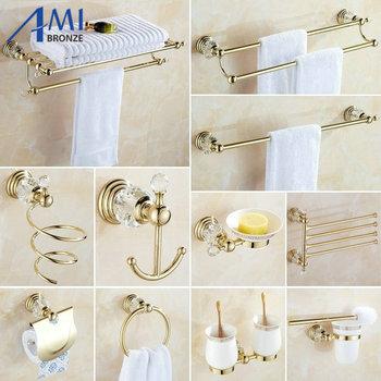 61 Crystal Series  Golden Polish Brass & Crystal Wall Mounted Bathroom Accessories SetsTowel Rack Towel Shelf Hook Paper Holder