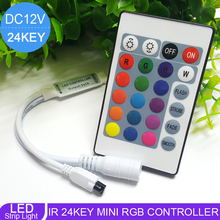 2017 NEW RGB LED Controller DC12V Mini 24Key IR Remote Controller For 3528 5050 RGB LED Strip(China)