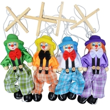 2016 New Funny Toy Pull String Puppet Clown Wooden Marionette Toy Joint Activity Doll Vintage