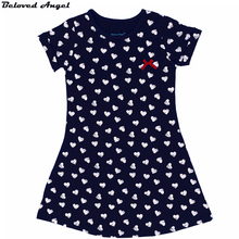 Beloved Angel 6 - 13 Year New Summer Girls Dresses Print Heart Baby Girl Clothes Kids Party Wear Children Short Sleeve Dress(China)