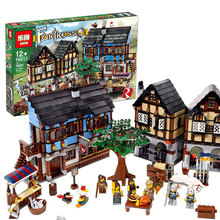 1601pcs Medieval Market Village Castle Set Building Blocks Bricks Toy Gift Children Fit With Lego 10193