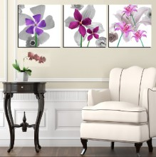 3 Panel Hot Sell Modern Wall Painting Home Decorative Art Picture Paint on Canvas Prints Daffodil, orchid, and small wildflowers
