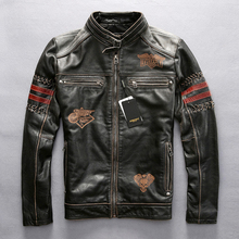 Genuine leather motorcycle racing jacket AVIREXFLY motorbike racing jacket cowhide leather road ride jacket(China)