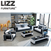 Corner Sofas Miami Modern Leather Sectional Sofa For Living Room Sets Group With Side Table+Coffee Table+TV Cabinet+Ottoman(China)