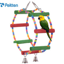 Colorful Pets Birds Toy Parrot Perroquet Macaw Cockatiel Budgie Scratcher Parrots Climb Circular Hanging Swing Hamster Rats Toy(China)