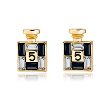 2016 New Arrival Bijoux Gold Channel Earrings For Women Crystal Stud Earings Famous Brand Jewelry Brincos SER150066(China)